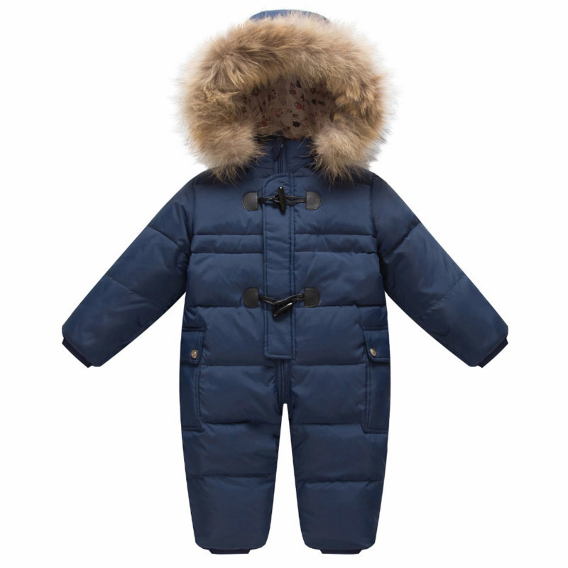 Baby Outerwear Coat Girls Boys Snow Wear Rompers Children's Winter Jumpsuit Enfant Ski Hooded Fur Snowsuit Child Carnaval Outfit