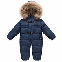 ベビーアウターコートガールズボーイズ雪の摩耗ロンパース子供の冬のジャンプスーツランファンスキーフード付き毛皮防寒着子供カーニバル衣装