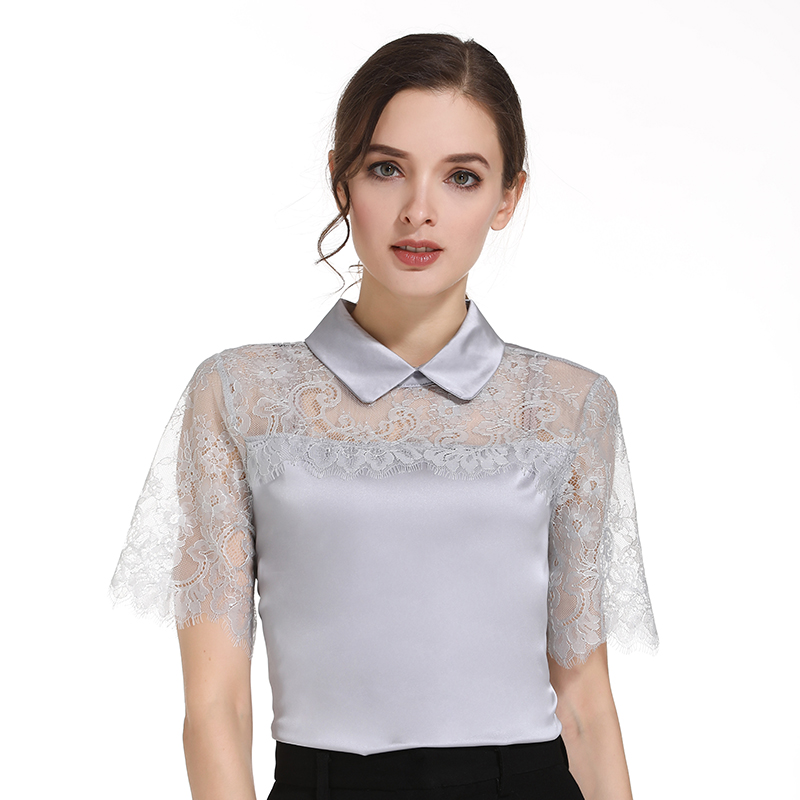 Gasa 2019 Camisas abajo Mujer Tops Sin Collar Harajuku Blusas Moda Y Mangas Blusas 0106 De Encaje Giro Grey 30 Mujeres 1YFqYO8wn