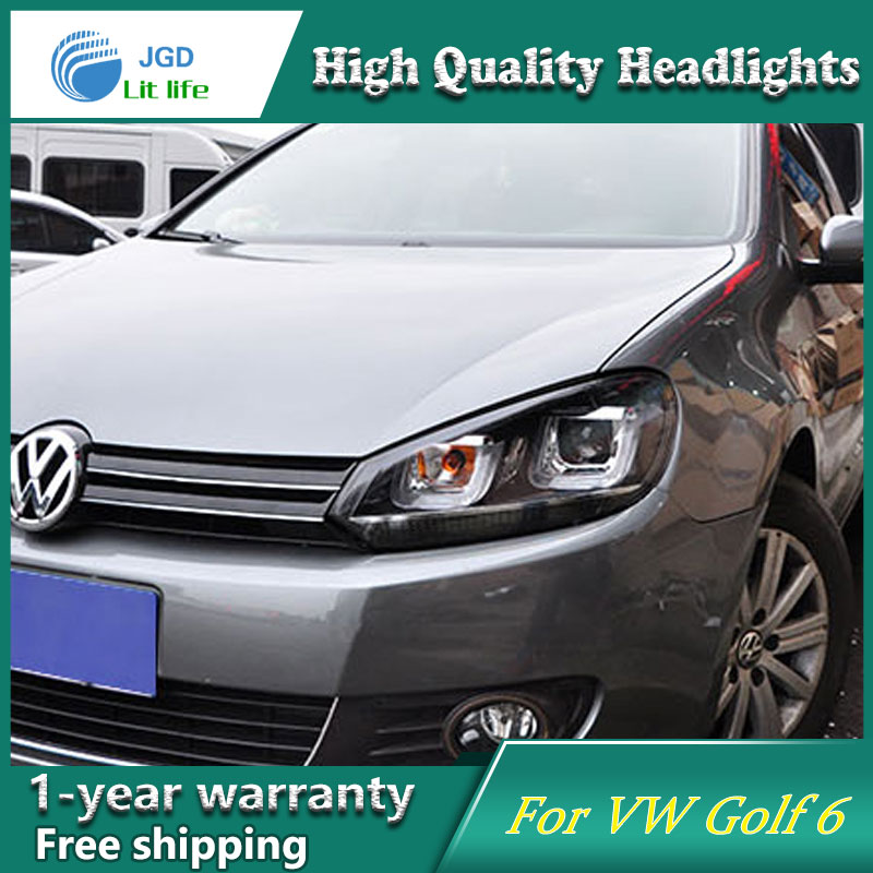 high quality Car styling case for VW Golf 6 GTI Headlights 2010-2012 golf mk6 Headlights LED Headlight DRL Lens Double Beam HID led headlights for vw volkswagen golf 6 mk6 2010 2014 uu type drl led headlights demon eyes