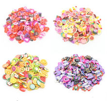 200 Pcs Fruit Slime Slices Fluffy Slime Slide Charms Kit Polymer Slime Accessories Clay Toys for Kids(China)