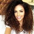 7A Cabelo humano Full Lace Wigs com o cabelo do bebê 1B/#33 ombre Kinky curly perucas 150% densidade parte dianteira do laço perucas para as mulheres negras encaracolados perucas