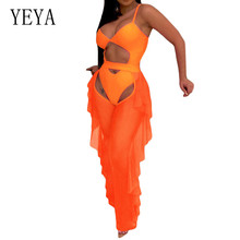 YEYA 2 Pieces Sets See Through Mesh Jumpsuits Sexy Hollow Out Ruffles Bodysuits Women Sleeveless Off Shoulder Elegant Overalls