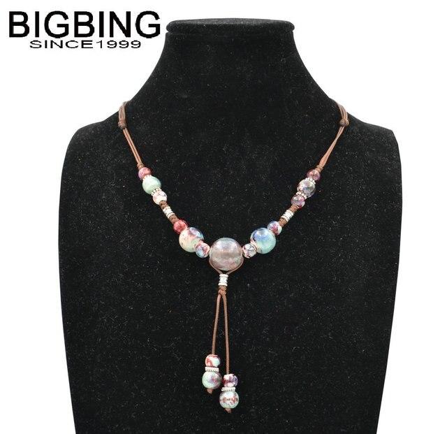 BIGBING Schmuck Mode bunte keramik perlen Hand stricken retro silber ...