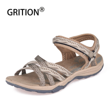 GRITION Women Sandals Outdoor Slip-on Flat Platform Sandalia