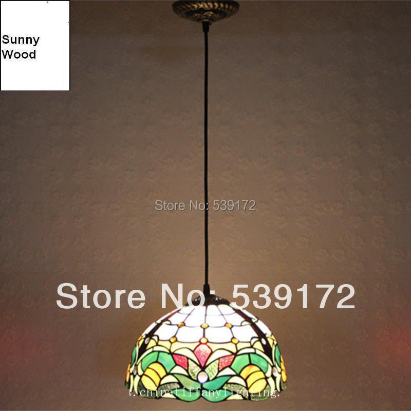 Free Shipping Led Tiffany Lamps 12 Inch D30cm Led Pendant Lights For Dinning Room With 5W