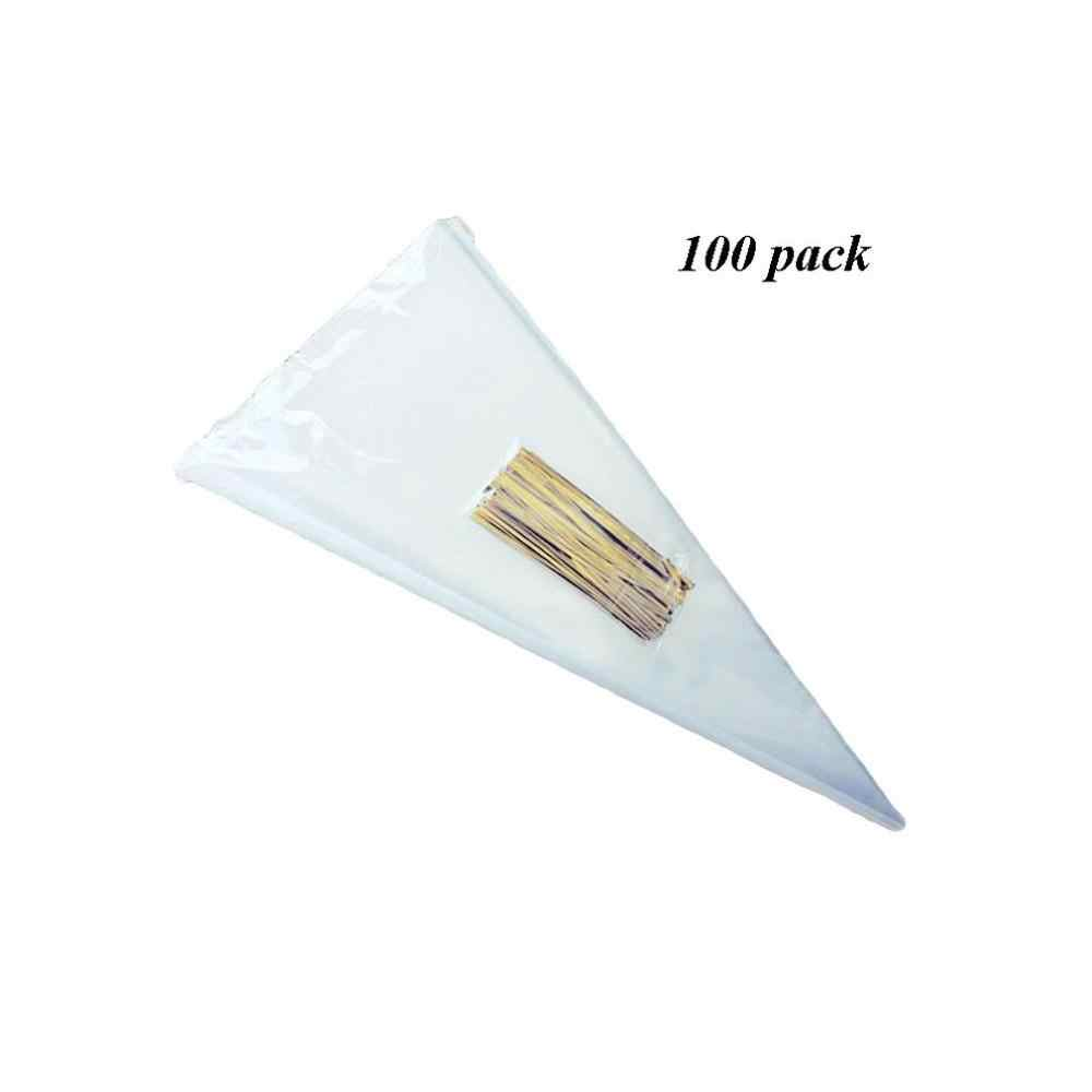 100Pcs / bag triangle transparent disposable candy gift food bag wedding birthday party flower packaging bag