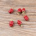 10 unids/lote 7*13mm Oro Plateado 3D Encantos De Fresa, rojo Esmalte pendiente de fresa, fruta Del Encanto Para La Joyería DIY