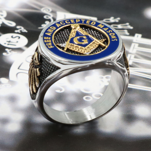 2019 New Blue Fashion Gold Color Male Masonic Ring Casting Titanium Stainless Steel Freemasonry Masonic Rings for Men's Jewelry