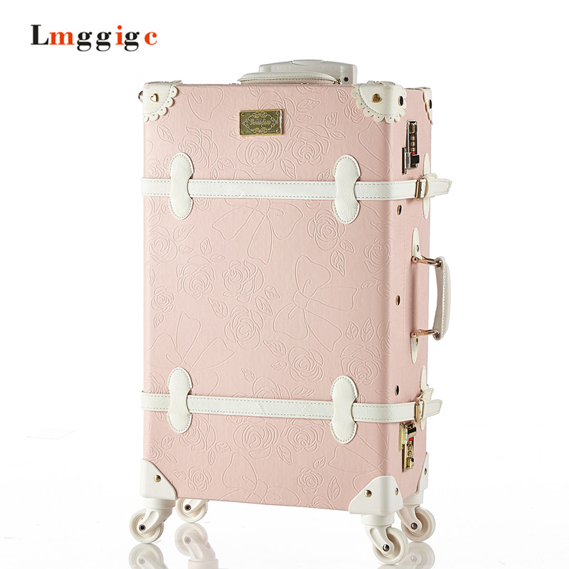 Vintage Rolling Luggage,PU Leather Suitcase Travel bag,Women universal wheels Trolley Carrier ,High quality Carry-On