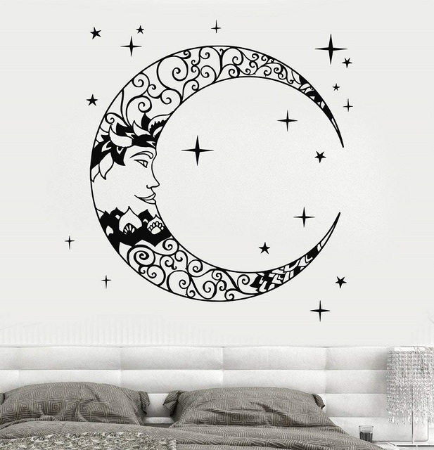 Vinyl Wall Decal Crescent Star Bedroom Design Art Wall Sticker Bedroom Living Room Home Art Deco Wallpaper 2WS19