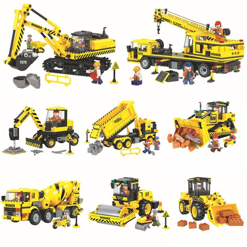 Técnica de construcción de la ciudad equipo de ingeniería vehículos juegos de bloques de construcción ladrillos modelo clásico juguetes de los niños regalo Compatible Legoings