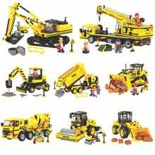 Technic City Construction Engineering Team vehicles Building Blocks Sets Bricks Classic Model Kids Toys Gift Compatible Legoings
