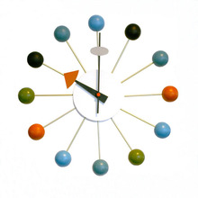 Top Quality 14 inch Multi Colored Wooden Ball Clock Factory  Sale Living Room Decoration Quartz Round Wall Clock
