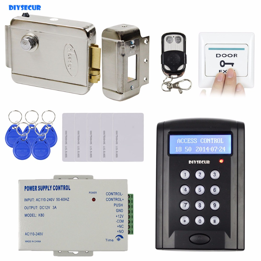 DIYSECUR Remote Control RFID Keypad Door Access Control Security System Kit + Electronic Door Lock + Power Source B100 diysecur rfid keypad door access control security system kit electronic door lock for home office b100