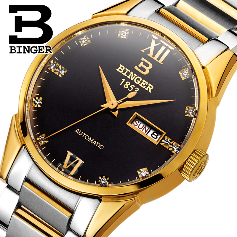 Switzerland men's watch luxury brand Wristwatches BINGER 18K gold Automatic self-wind full stainless steel waterproof  B1128-7 switzerland men s watch luxury brand wristwatches binger 18k gold automatic self wind full stainless steel waterproof b1128 6
