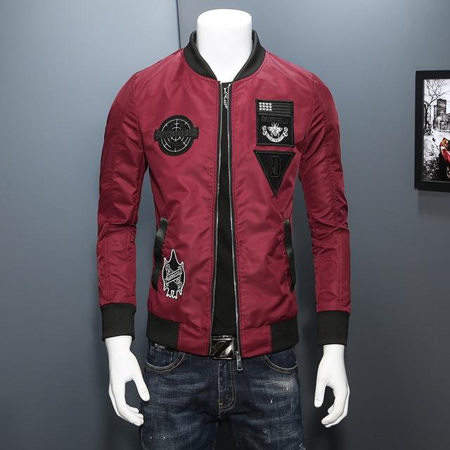 Nice Spring Bomber Jacket Men Korean Fashion Personlity Patch ...