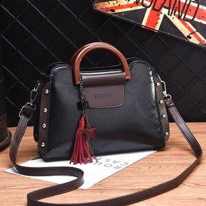 Image 5 - ETONTECK 2018 New Fashion Luxury Women PU Leather Handbags Vintage Rivet Tassel Messenger Bag for Female Ladies Shoulder Bag