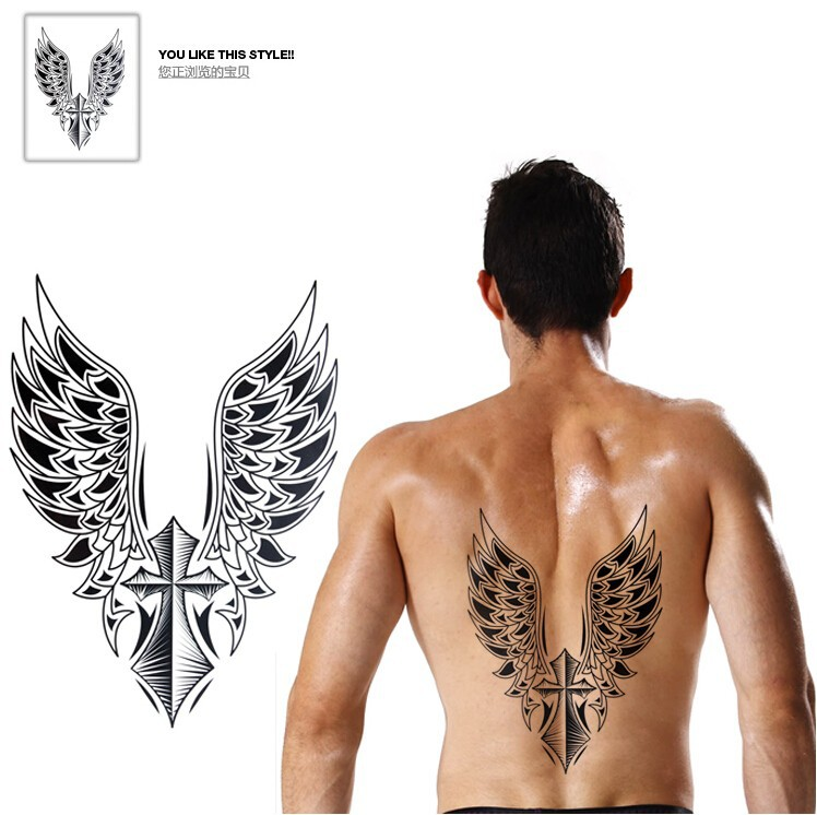 2pcs 21.5x30.5cm Large Temporary tattoo sticker big waterproof 3D Crosee Wings back tattoos men body art 1