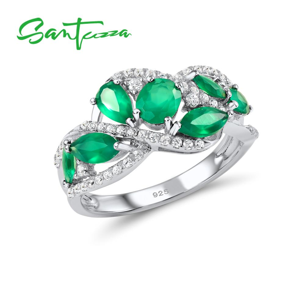 SANTUZZA Silver Rings For Women Pure 925 Sterling Silver Pear  Green Chalcedony Sparkling Trendy Party Ring Fine JewelryRings   -