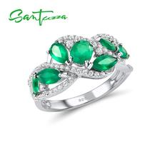 SANTUZZA Silver Rings For Women Pure 925 Sterling Silver Pear Green Chalcedony Sparkling Trendy Party Ring Fine Jewelry