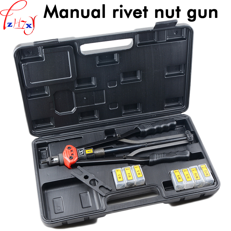 Hand riveting nut gun BT604 M3-M12  hand riveter pull rivet nut riveting automatic back tools with stroke scale free shipping manual rivet gun hand riveter pull rivet nut riveting tools with one die of m6 bt 605 carton package