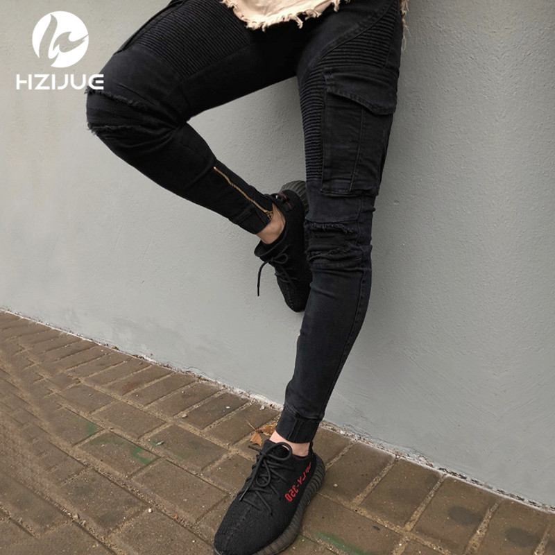 HZIJUE 2018 Mens Skinny Jean Distressed Slim Elastic men Jeans Denim Biker Jeans Hip hop Pants Washed Ripped Jeans size 28 38