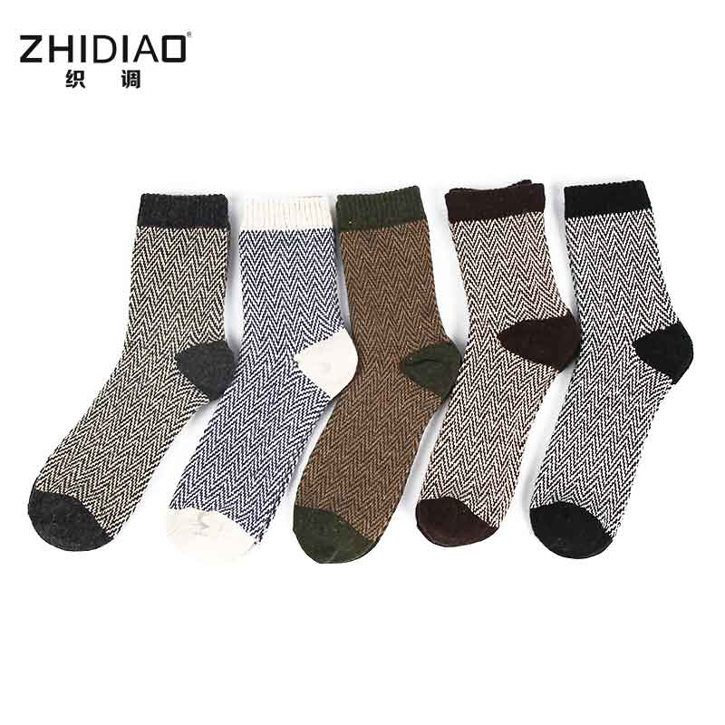 Winter rabbit wool funny thermal men socks cotton crew happy socks for men warm thickening water ripples mens socks 5pairs/lot