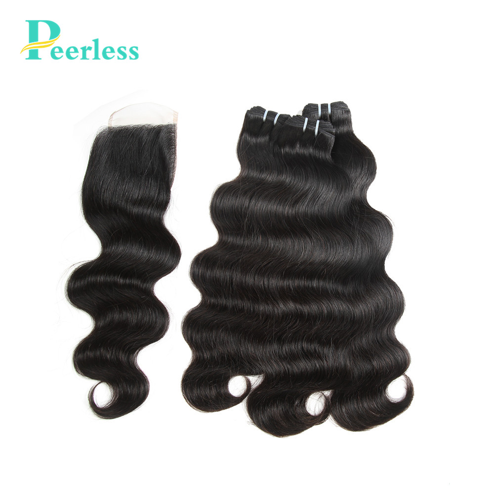 PEERLESS Hair 3 Bundles Brazilian Body Wave With Closure 4*4 Free Part 4pcs/lot Virgin Human Hair Extension Natural Color