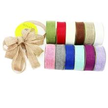 "David accessories 1.5""(38mm) linen ribbon 10 yards,DIY holiday decoration crafts accessories,DIY handmade materials,10Y44267"