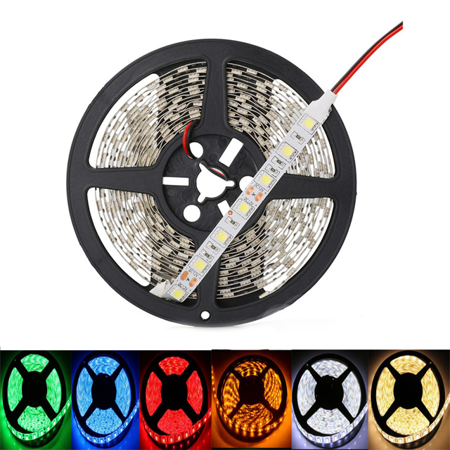 12 V Strip Led Light Tape SMD 5050 Warm White Not Waterproof 5M 60LED/M 12 V Led Strip Tape Lamp Diode Ribbon Fleible For Party