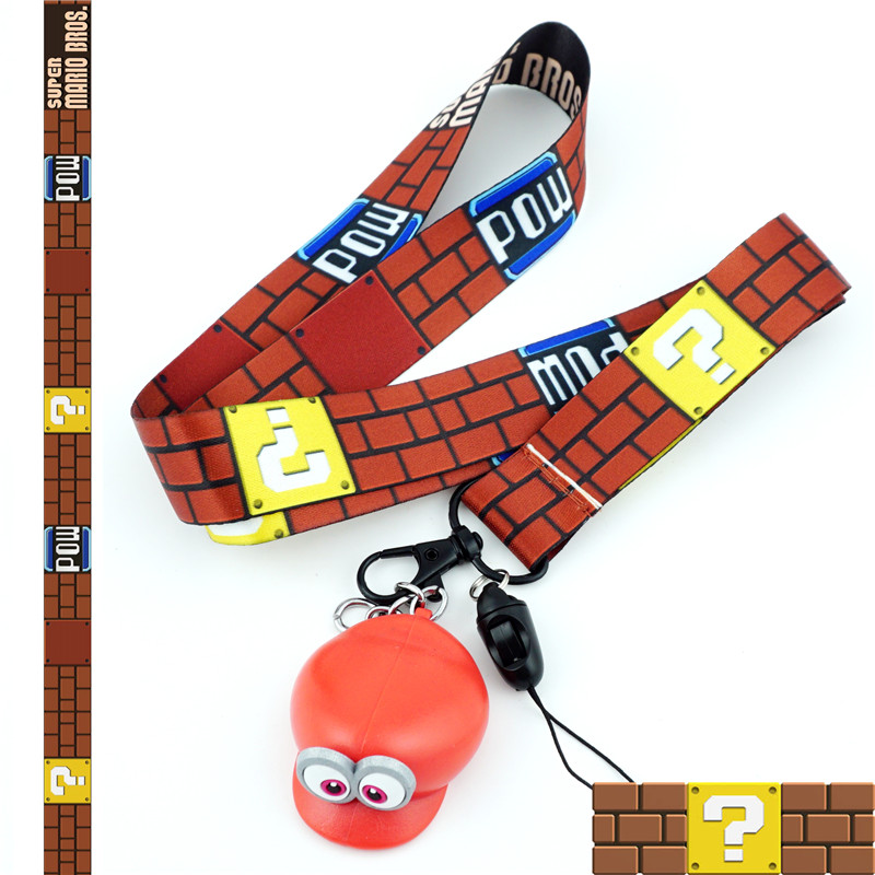 Super Mario Bros Rubber Figure Keychain Lanyard Id Badge Holder Pendant Keyring Charms Mobile Phone Straps Cosplay Accessories