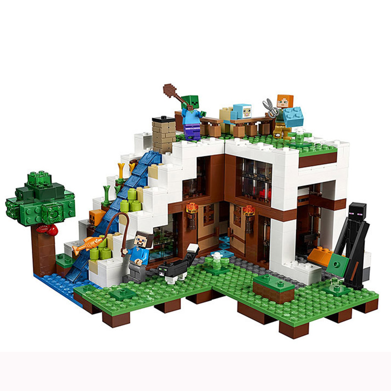 Minecraft The Waterfall Base Steve Alex figures Compatible LEGOs 21134 Lepin StarWars Model Building Blocks Toys For Children minecraft 4 in 1 building blocks minecraft figures dragons toys steve zombie alex witch zombie skeleton compatible blocks e