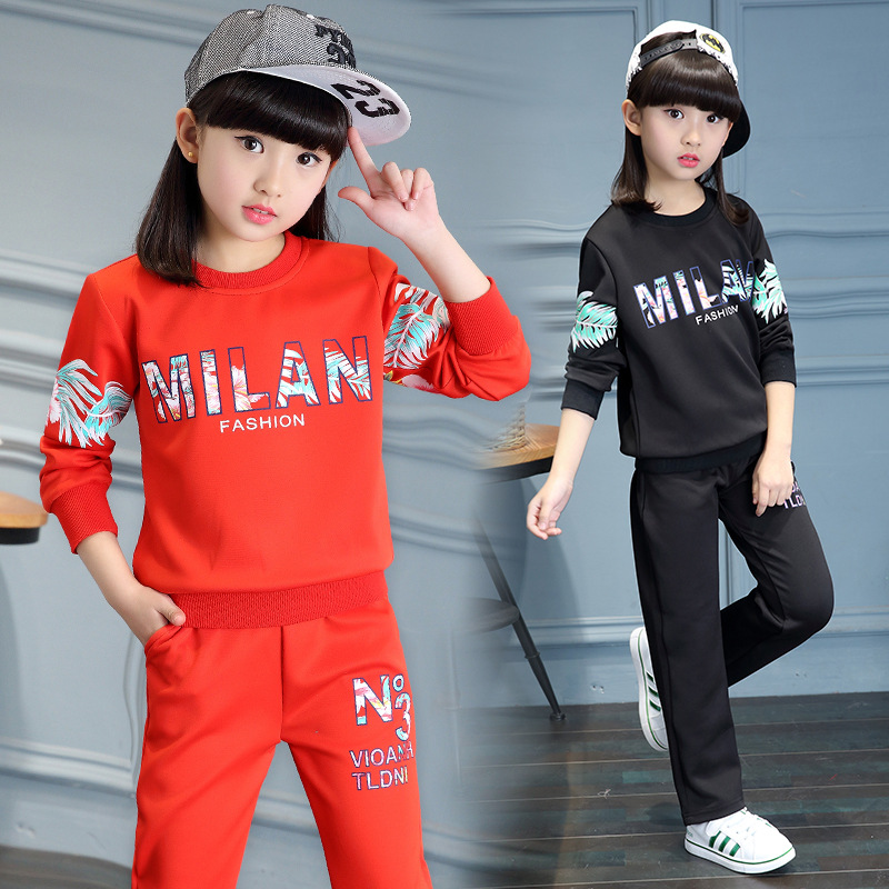 ФОТО Kids girls spring / autumn 2 pcs set 2017 new baby girls' clothing fashion letters printed track suit 4/5/6/7/8/9/10/11/12/13