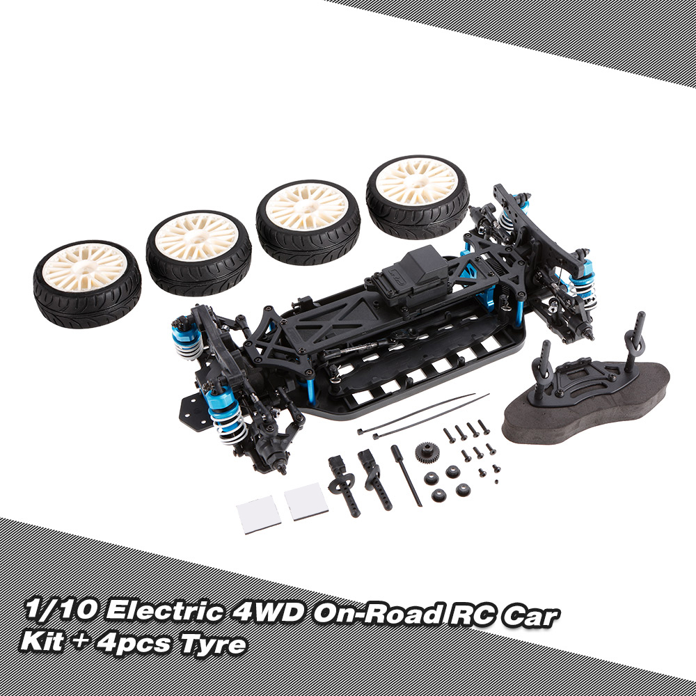1/10 4WD Electric On-Road Drift Racing Car Frame Kit Chassis Combo & 4pcs Rubber Tyre RC Car Accessory Toy Part Vehicle Kit