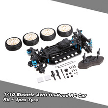 1/10 4WD Electric On-Road Drift Racing Car Frame Kit Chassis Combo & 4pcs Rubber Tyre RC Car Accessory Toy Part Vehicle Kit(China)