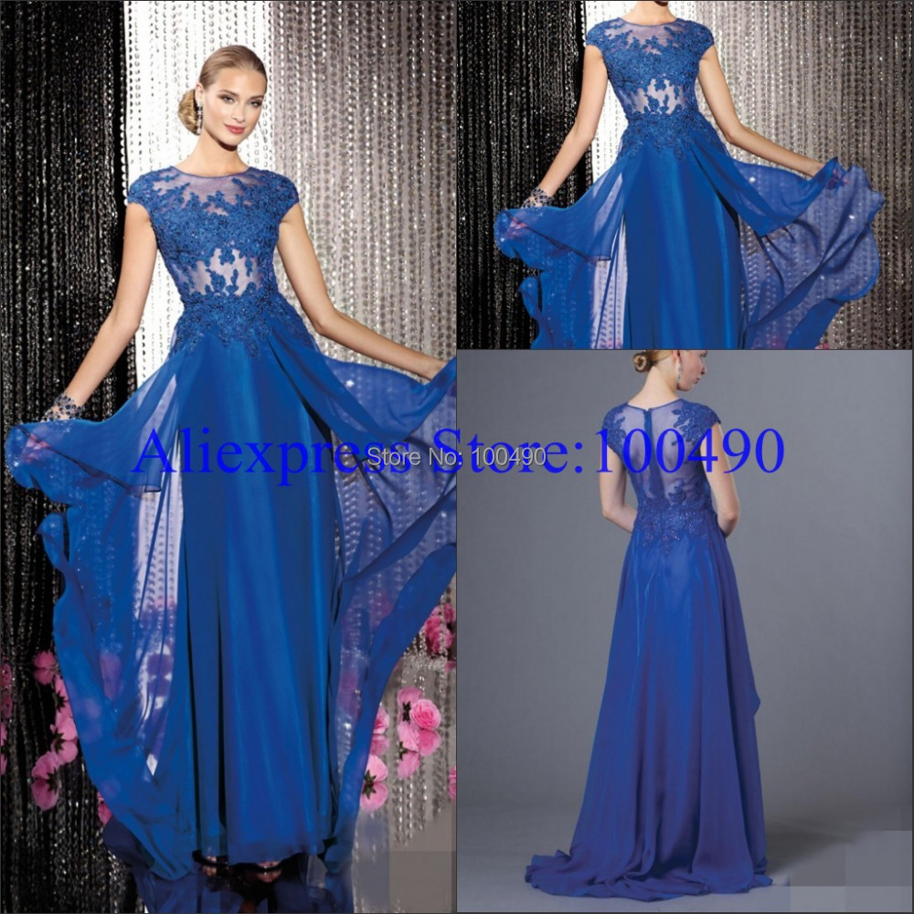 Royal blue Flowy layered chiffon long gown beaded lace bodice with ...