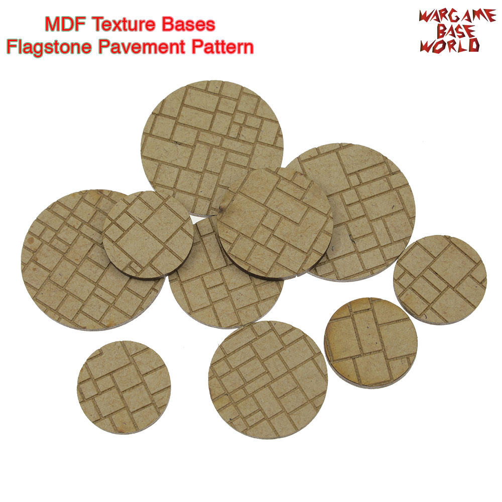 MDF Texture Bases - 25mm - 40mm Round Flagstone Pavement Pattern Bricks Texture Bases - Laser Cut Wood