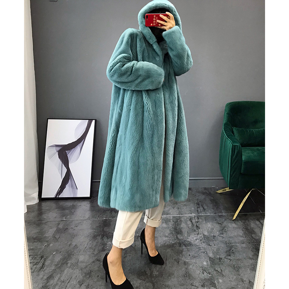 Women's Imported Whole Leather Mink Fur Coat Women's Long Outwear Thick Warm Full Pelt Fur Jacket Natural blue Mink Fur Coat