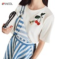 vancol 2017 new Arrival bee and cherry Embroidery Tops Women ladies top tees women t shirt summer black harajuku shirt Femal