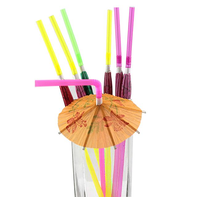 Fluorescent Disposable Drinking Straw 50 Pcs Set