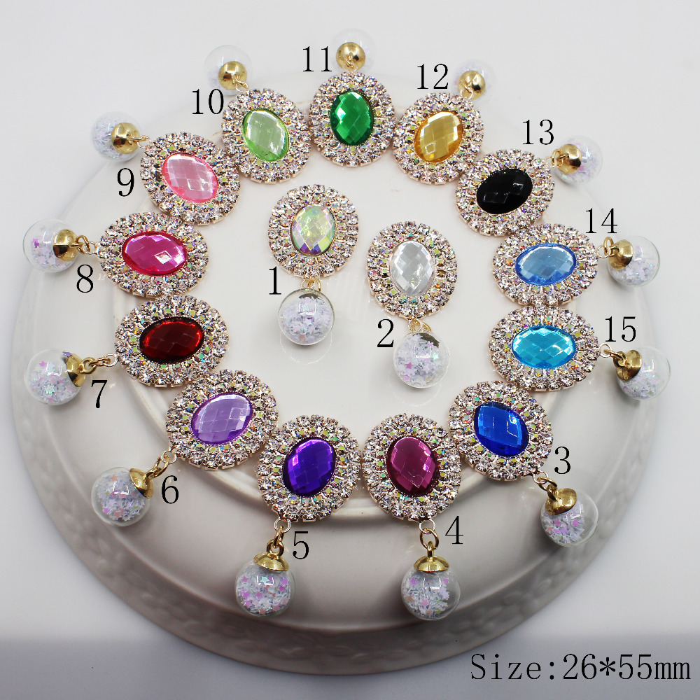 Fashion Oval 5pc AB Color Rhinestone Button Rose Gold Wedding Wine Glass Decorate Hair Flower Center Scrapbooking Accessories