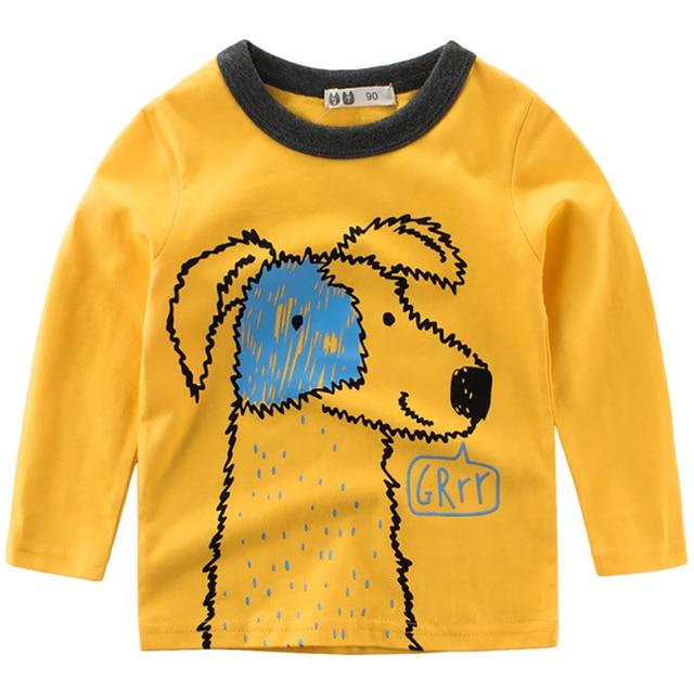 Boys T Shirts Spring 2018 Girl Long Sleeve T Shirt Dog Cartoon Girls Tops Summer Boy T Shirt O-neck Cotton Toddler Tshirts