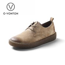 Q.VONTON Autumn three colours retro real pigskin leather-based sneakers girls's pure flats feminine naturalism lace up spherical toe sneakers