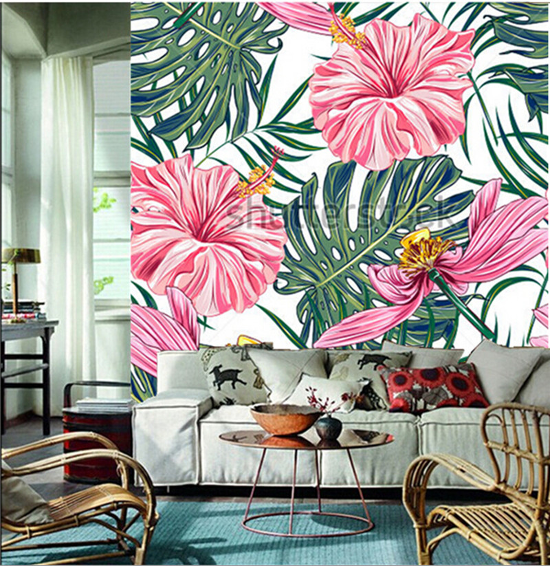 tropical wallpaper for walls  Custom 3D large mural,tropical flowers, palm leaves, hibiscus papel ...
