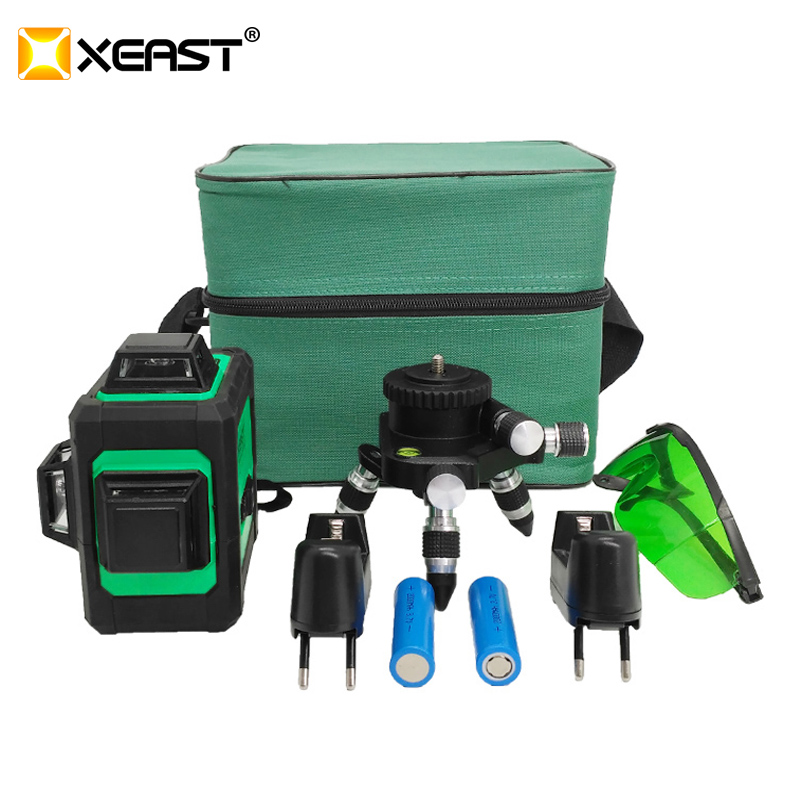 XEAST 12 lines 3D Green Laser Levels Self Leveling 360 Horizontal an Vertical Cross Super Powerful