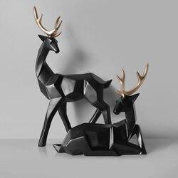 Estilo nórdico creativo 3D geometría sólida ciervo de la suerte adornos artesanales de resina muebles para el hogar para decoración figuras de escritorio de oficina