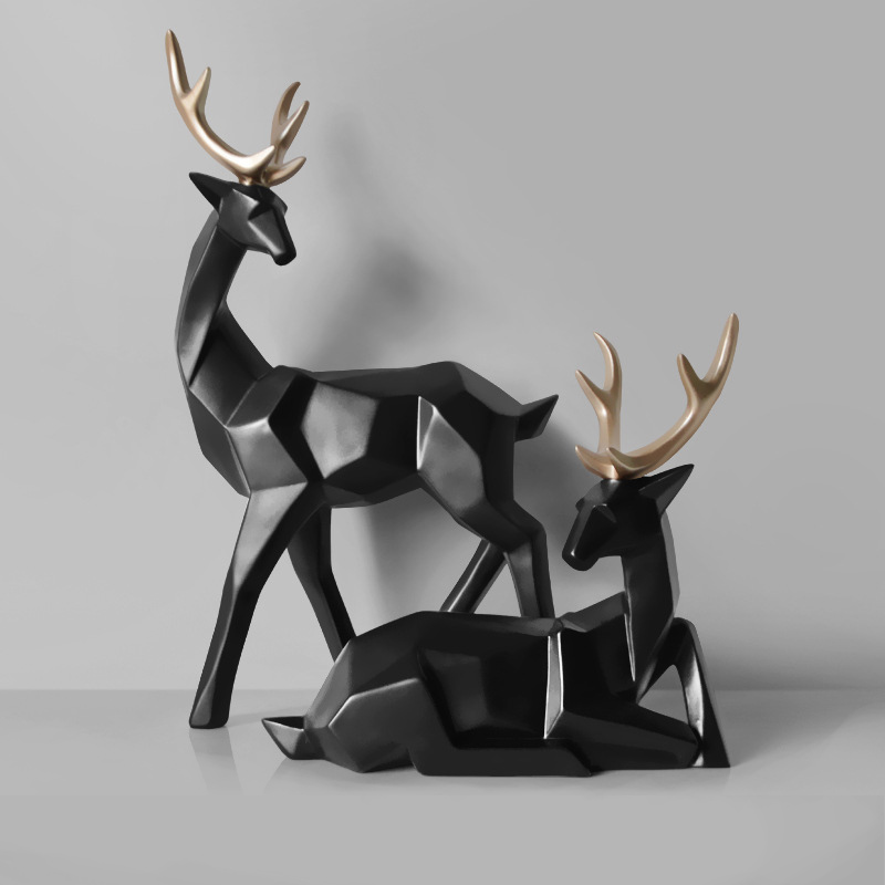 Nordic Style Creative 3D Solid Geometry Lucky Deer Ornaments Resin Craft Home Furnishing For Decoration Office Desktop Figurines