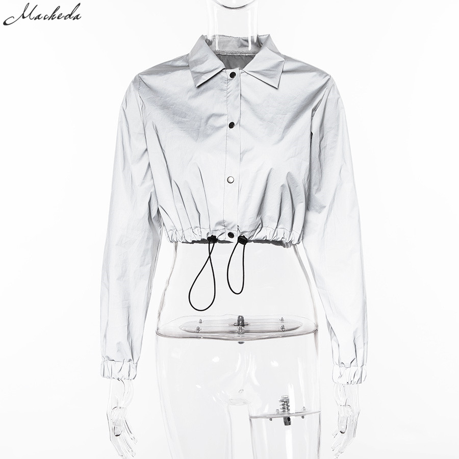 HTB1dAFRXZvrK1Rjy0Feq6ATmVXaW Macheda Fashion Women Reflective Turn-down Collar Buckle Drawstring Jackets Long Sleeve Cropped Coat Ladies Basic Jacket Ne'w