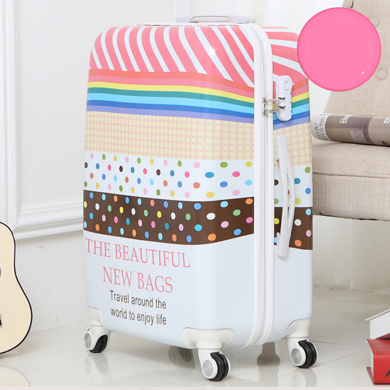 Letrend British style Student Rolling Luggage Spinner Women Trolley Suitcase Wheels 20 inch Carry On Travel Bag Hardside Trunk